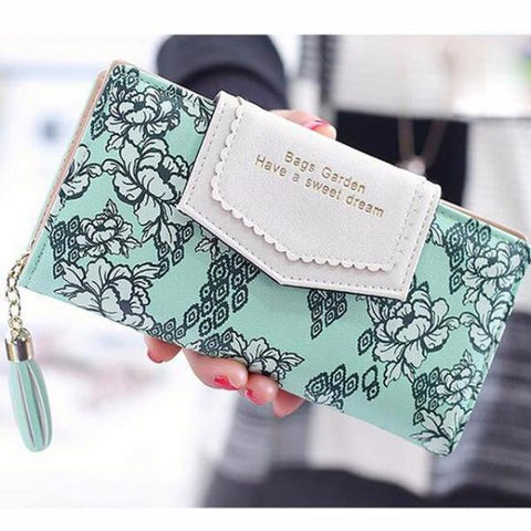 Floral Tassel Zipper Clutch Women Wallet