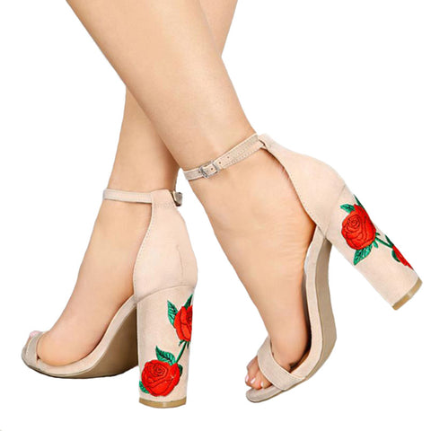 Floral Embroider Ankle Strap High Heels Open Toe Shoes