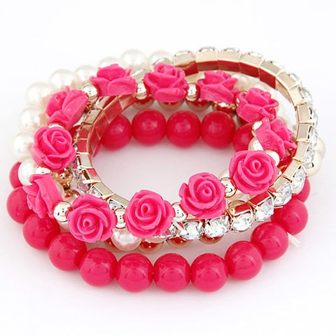 Candy Colour Pearl Beads Stretch Charm Bracelet