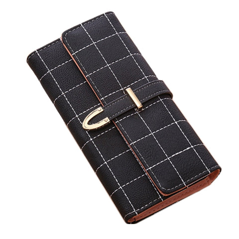 Plaid Leather Fashion Clutch Ladies Wallet