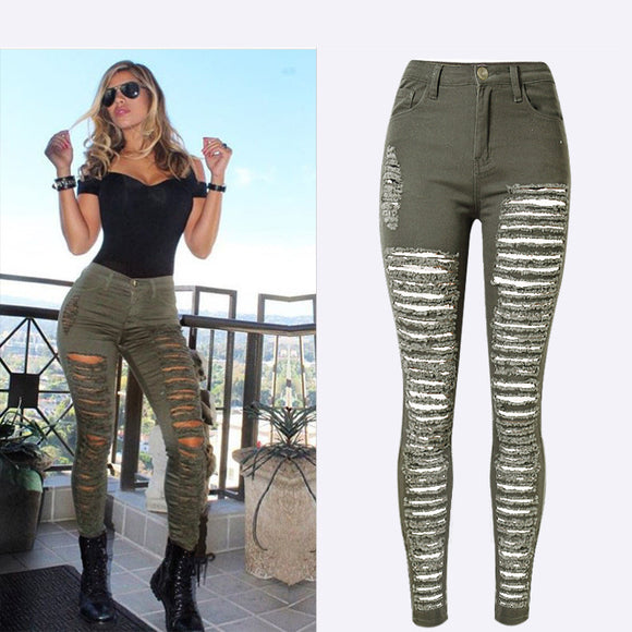 Hot Sexy Ripped Jeans Skinny Pencil Denim Army Green