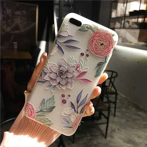 Cartoon Matte Soft Back Cover Phone Cases For iPhone 6S 6 7 8 Plus
