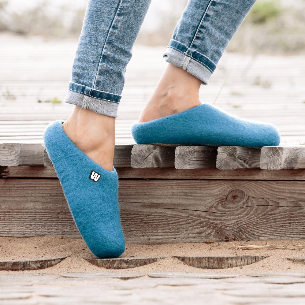 Slippers - Sapphire Blue Wool Slippers