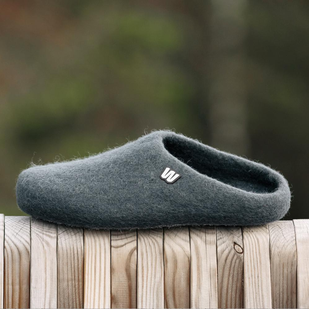 Slippers - Graphite Gray Wool Slippers