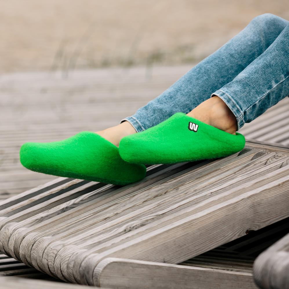 Slippers - Emerald Green Wool Slippers