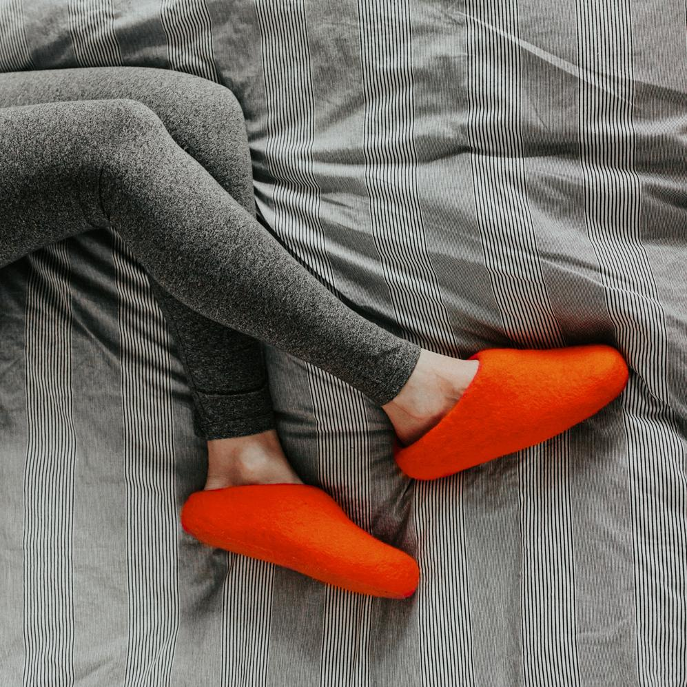 Slippers - Tiger Orange Wool Slippers