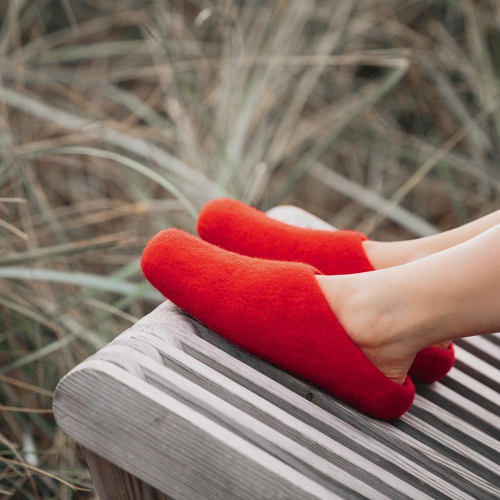 Slippers - Crimson Red Wool Slippers