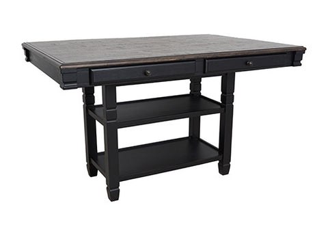 Prairie Point Black Rectangular Counter Table W/ Shelves