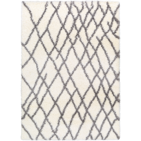 Cloudy Shag Rug Cream with Gray Stripes