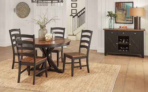 Stone Creek Chickory Black Oval Extending Table