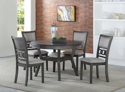 Gia Gray Round Dining Table w/ Chairs (5 Pc Set)