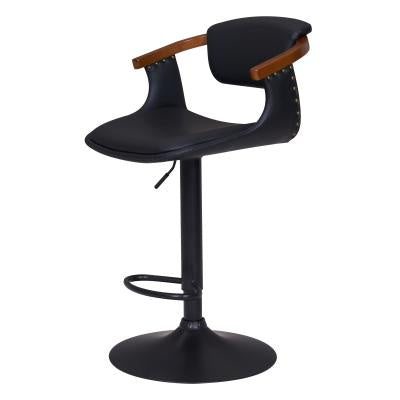 Darwin Bamboo + Black Adjustable Bar Stool
