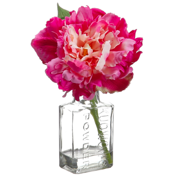 Hot Pink Peony In Glass Vase