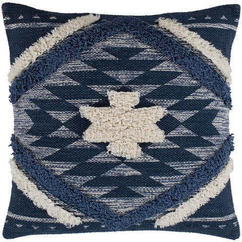 Lachlan White + Blue Textured Pillow