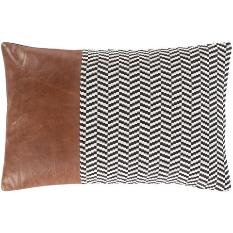 "Fiona Cotton + Leather Lumbar Pillow Down 13"" x 20"""