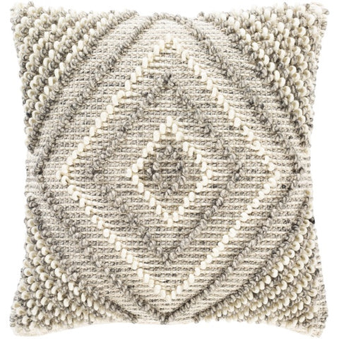 "Faroe Cream + Gray Textured Pillow 22"" x 22"" Poly"