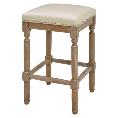 Ernie Beige Bonded Leather Counter Stool Driftwood Legs
