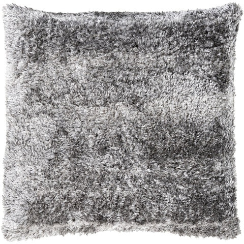 "Flokati Gray Fur Pillow 21"" x 21"" Down"