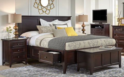 Westlake Dark Mahogany Queen Storage Bed