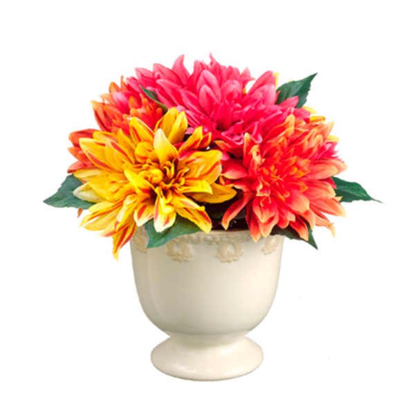 Dahlias In Ceramic Pot