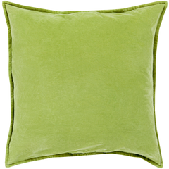 Green Cotton Velvet Pillow 18x18