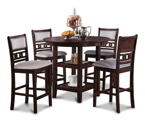 Gia Cherry Counter Table w/ Chairs (5 Pc. Set)