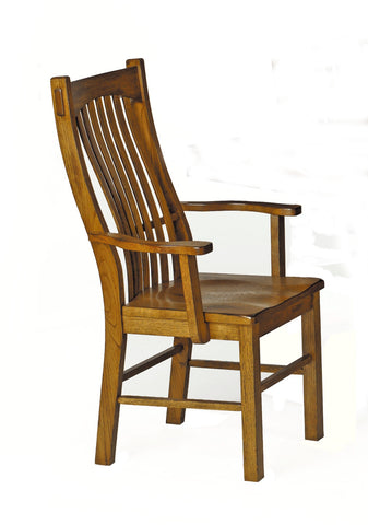 Laurelhurst Rustic Oak Slatback Arm Chair