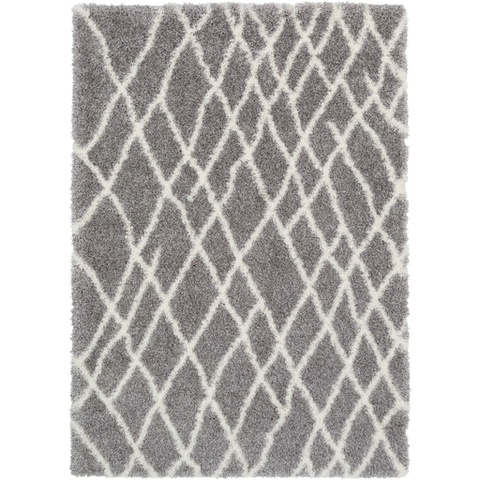 Cloudy Shag Rug Gray with White Stripes
