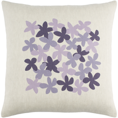Linen Light & Dark Purple Flower Pillow