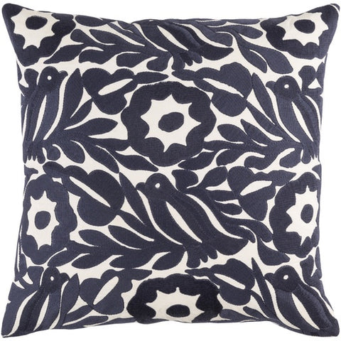"Pallavi Navy Pillow 20"" x 20"" Down"