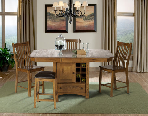 Laurelhurst Rustic Oak Gather Height Table w/ Wine Storage