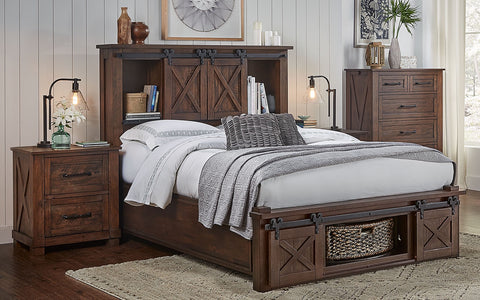 Sun Valley Rustic Timber Queen Headboard Storage Bed