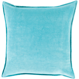 Aqua Cotton Velvet Pillow 18 x 18
