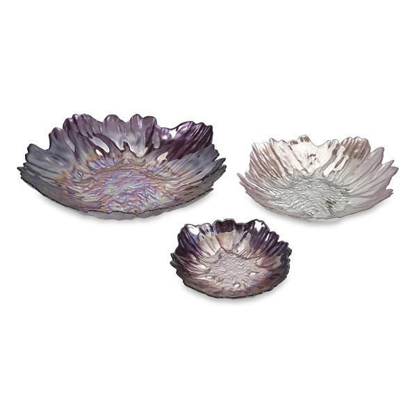Purple Flower Glass Bowl - 3 Sizes