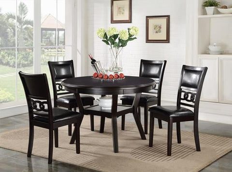 Gia Ebony Round Dining Table w/ Chairs (5 Pc Set)