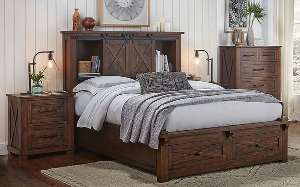 Sun Valley Rustic Timber King Bed w/ Headboard & Footboard Storage