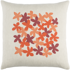 Linen Orange & Red Flower