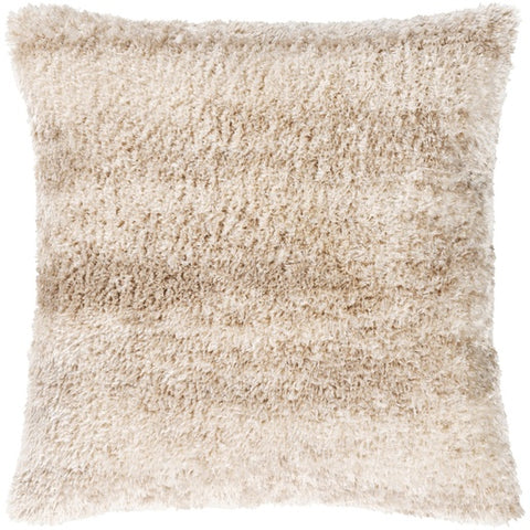 "Flokati Tan Fur Pillow 21"" x 21"" Down"