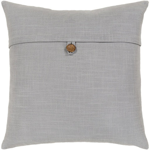 "Penelope Button Gray Pillow 18"" x 18"" Poly"