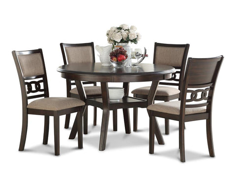 Gia Cherry Round Dining Table w/ Chairs (5 Pc Set)