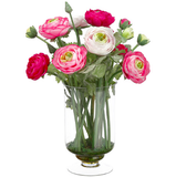 Pink Ranunculus In Glass Vase