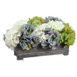 Green + Blue Hydrangea Centerpiece