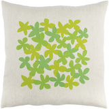 Linen Light & Dark Green Flower Pillow