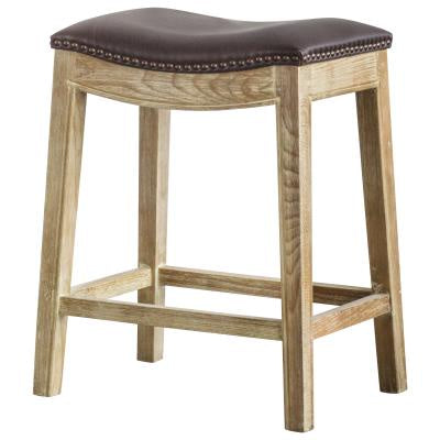 Elmo Faux Leather Brown Backless Counter Stool