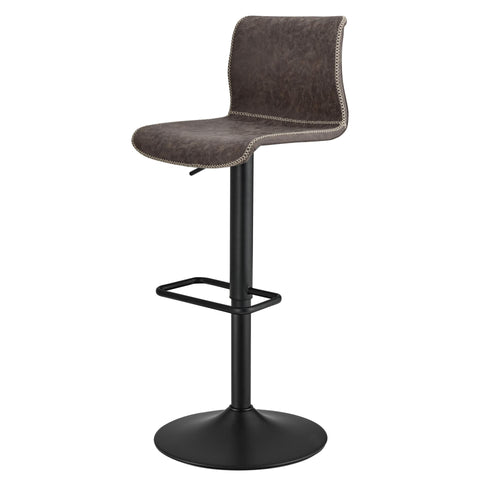 Jayden Vintage Coffee Brown Low Back Gaslift Bar Stool