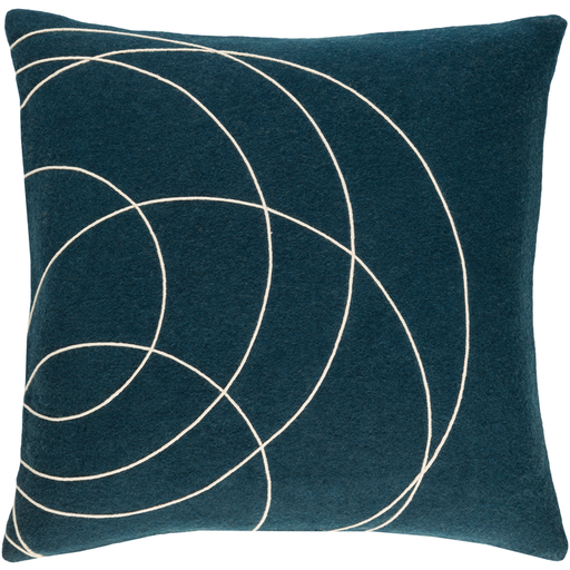 Solid Bold Wool Blue Pillow 22x22