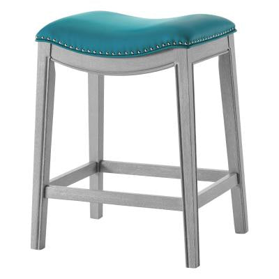 Grover Matte Turquoise Counter Stool Ash Gray Frame
