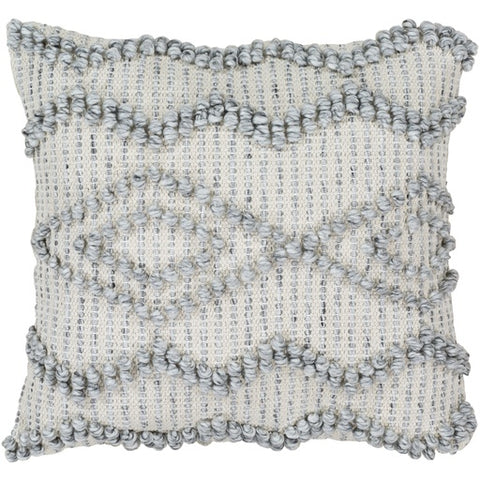 "Anders White + Gray Textured Pillow 22"" x 22"" Poly"