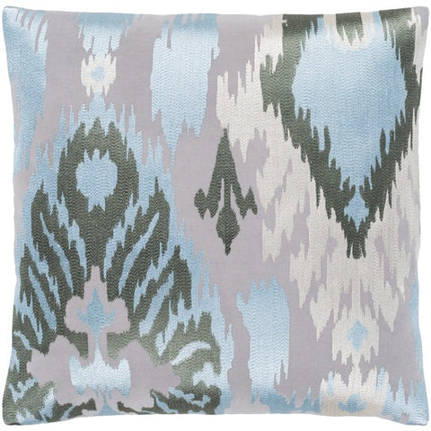 "Ara Light Blue + Gray Pillow 20"" x 20"" Down"