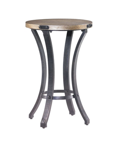 Hidden Treasures Faux Leather Round End Table